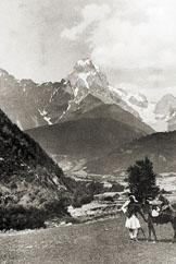 Der Uschba aus dem Betschotal um 1929.